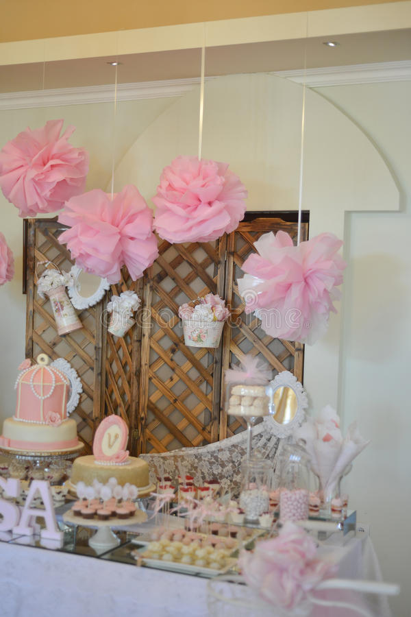 Table Set Up For A Baby Girl Birthday Party Stock Photo Image of