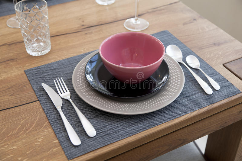 Table set up for dinning room. Elegant table set up for dinning room at home royalty free stock image