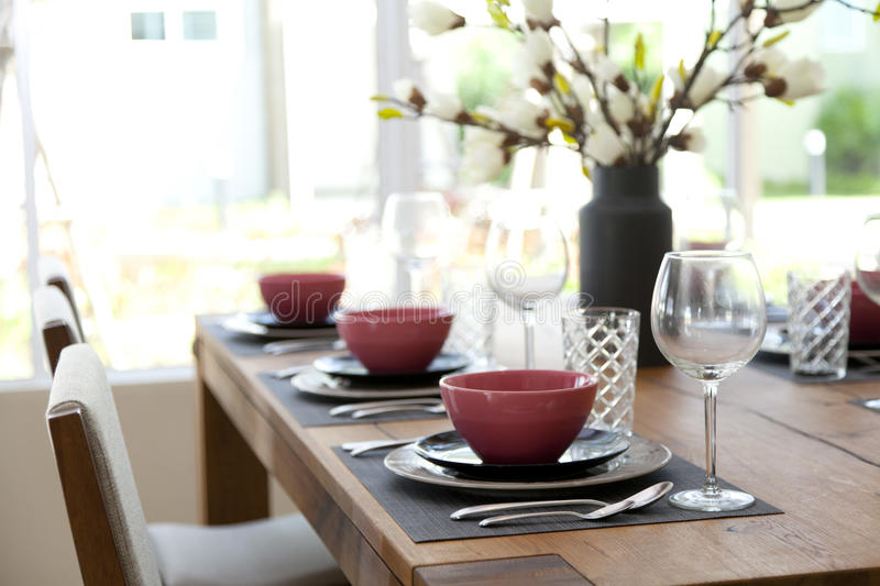 Table set up for dinning room. Elegant table set up for dinning room at home stock photography