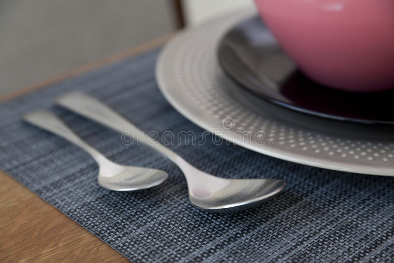 Table set up for dinning room. Elegant table set up for dinning room at home stock image
