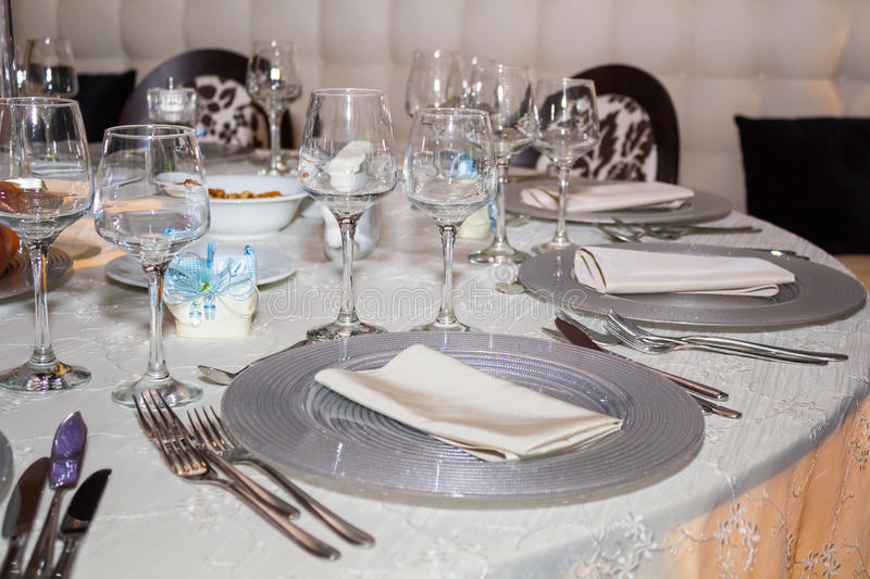 Formal Dining Table Set Up: Table Set Up Stock Photography