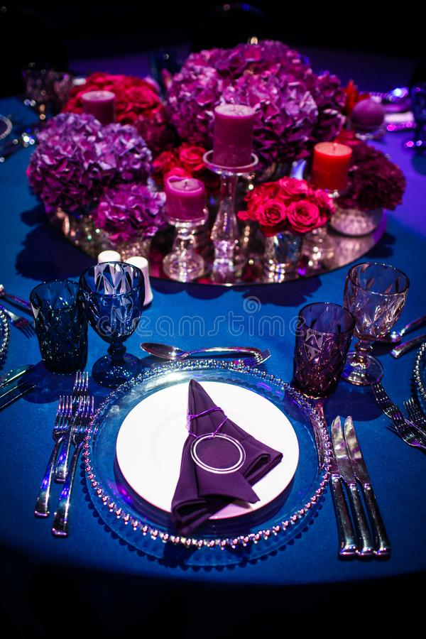 Table set for wedding or another catered event dinner.  royalty free stock photos