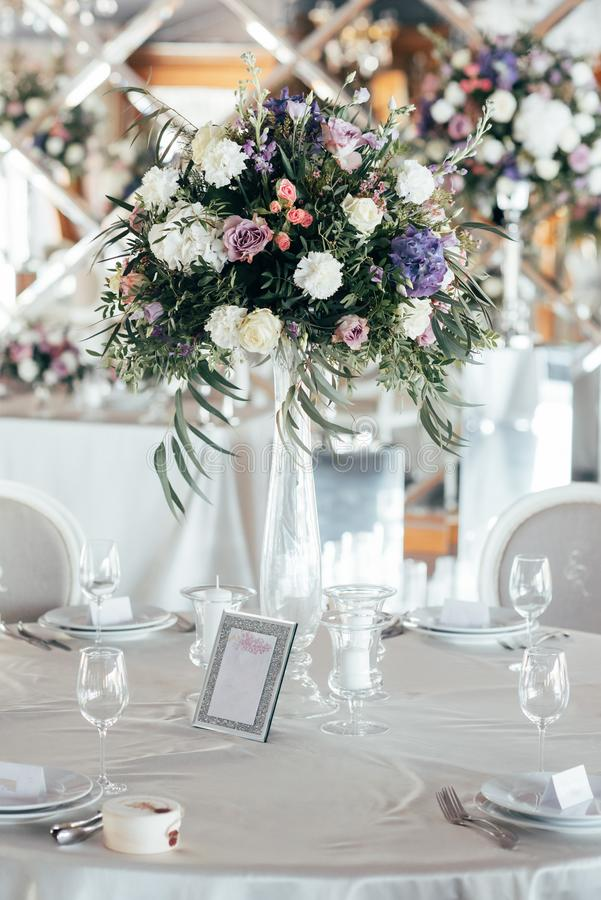Table set for wedding or another catered event dinner.  stock photos
