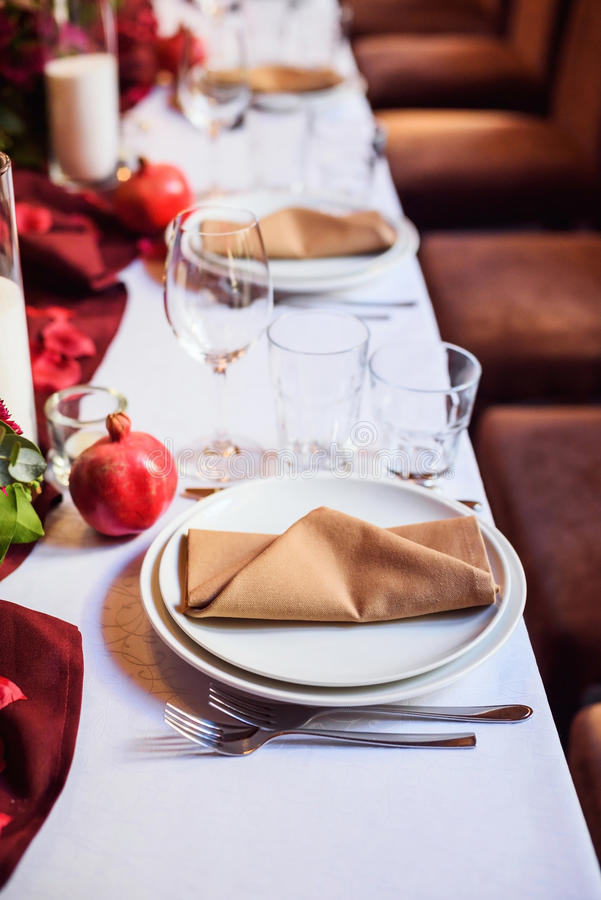 Table set for wedding or another catered event dinner. Beautiful table set for wedding or another catered event dinner stock image