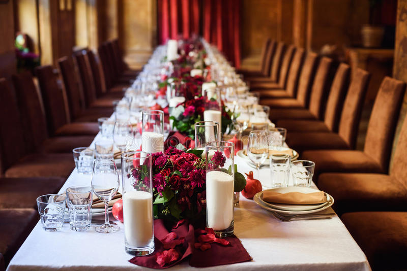 Table set for wedding or another catered event dinner. Beautiful table set for wedding or another catered event dinner stock photography