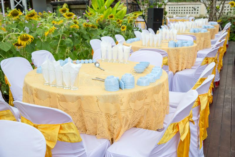 Table set for wedding or another catered event dinner, luxury wedding table. Setting for fine dining at outdoors stock images