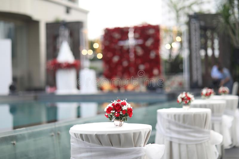 Table set for wedding or another catered event dinner, luxury wedding table setting for fine dining at outdoors. Wedding stock photo