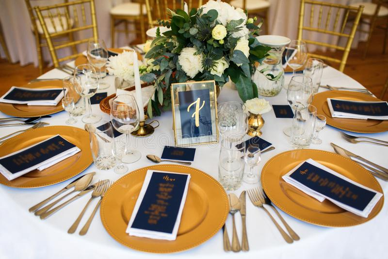 Table set for wedding or another catered event dinner.  royalty free stock photography