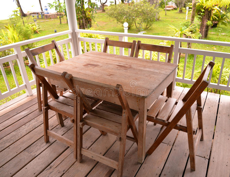 Table set Wood. At home in garden royalty free stock image