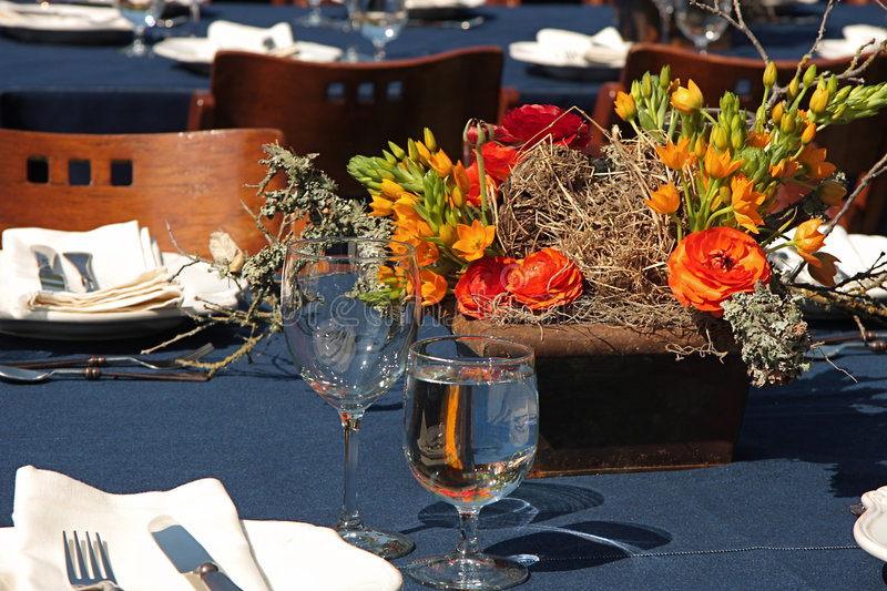 Download Table setting stock photo. Image of social, outside, orange - 5042056