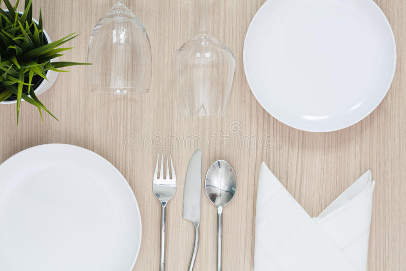 Table Setting From Above Elegant Empty Plate Cutlery Napkin And ...