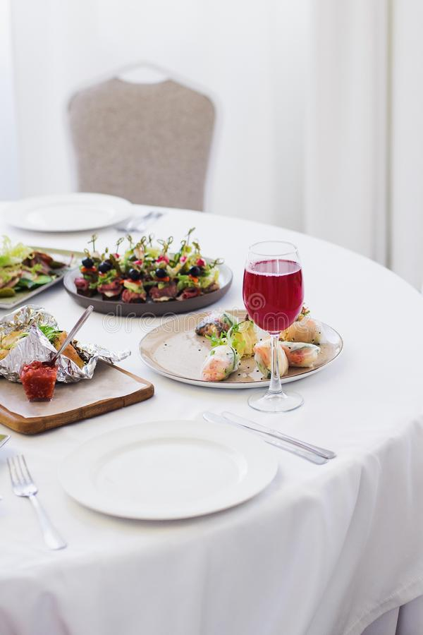 Table setting before banquet in restaurant. Stock photo image royalty free stock photo