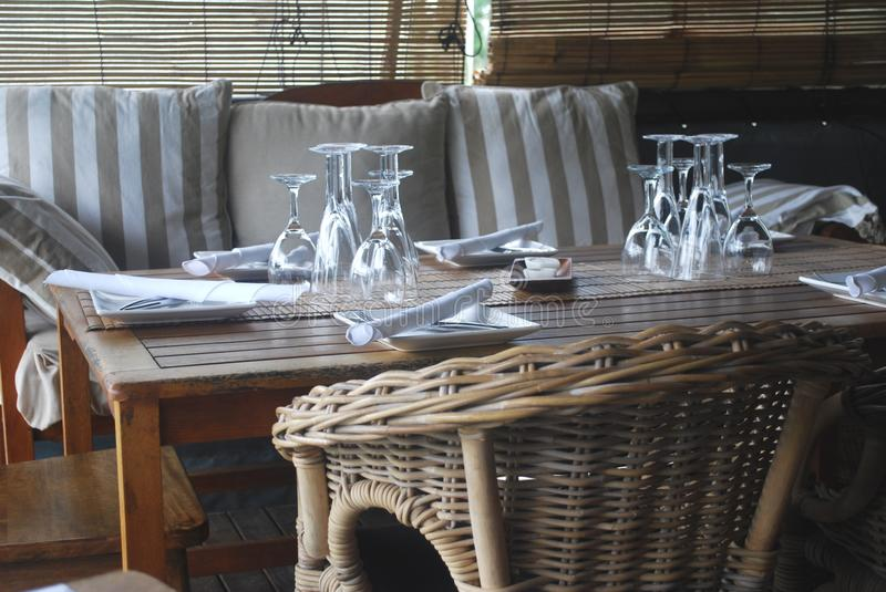 Table setting in Bistro stock image