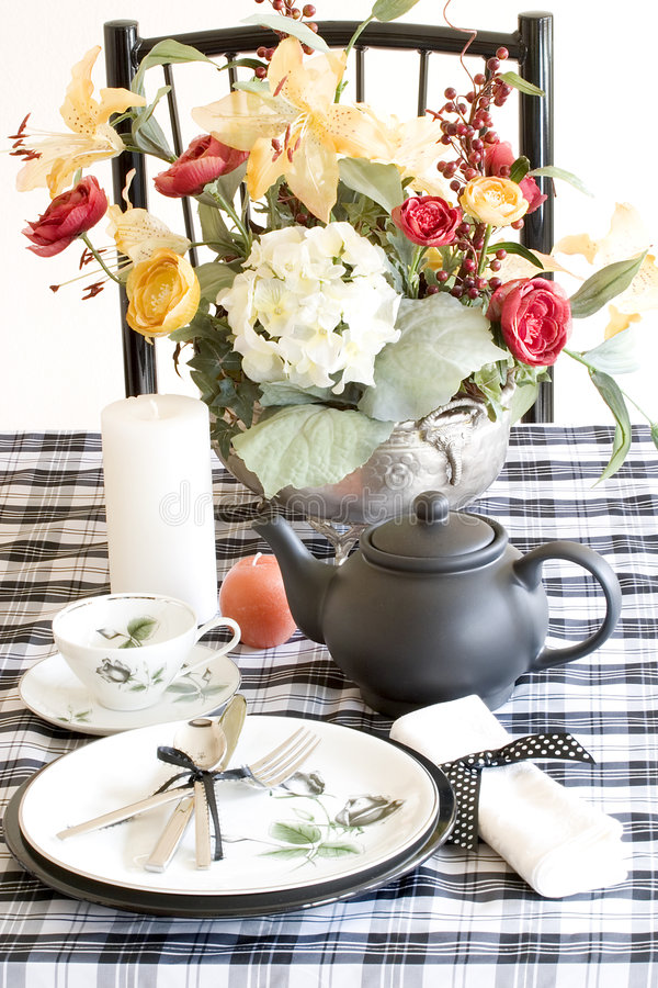 Table setting, black and white stock images