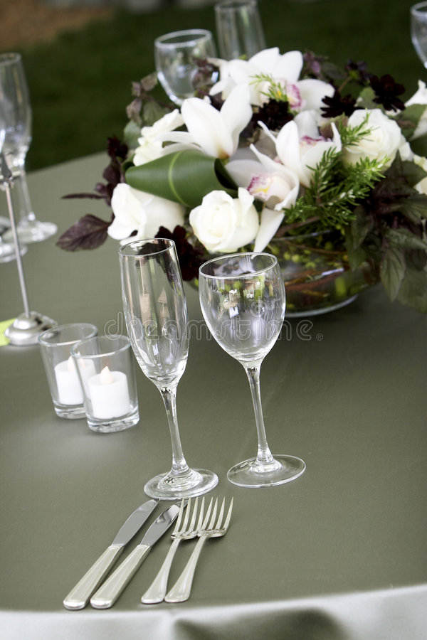 Table setting for a catered event or wedding royalty free stock images