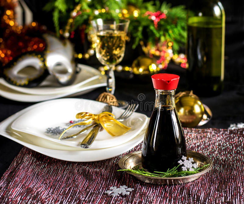 Table setting decoration for Christmas celebration stock photos