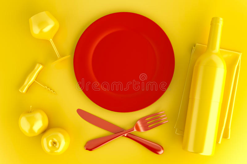 Table setting with empty red plate, glass and wine bottle. Top v royalty free stock photo