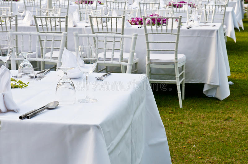 Table setting for an event party or wedding reception stock image