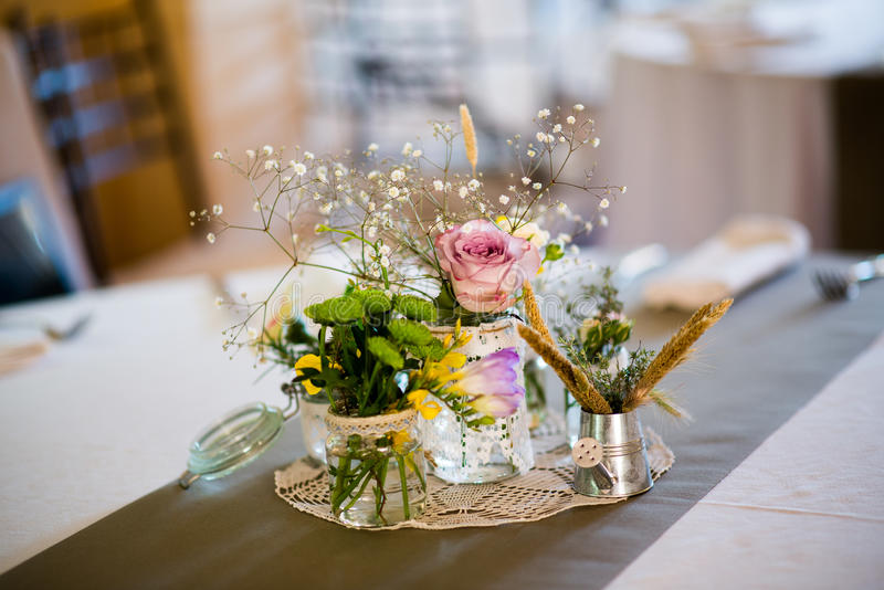 Table setting flower decorations stock photos