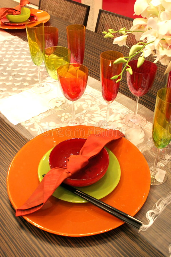 Table setting - home interiors royalty free stock image