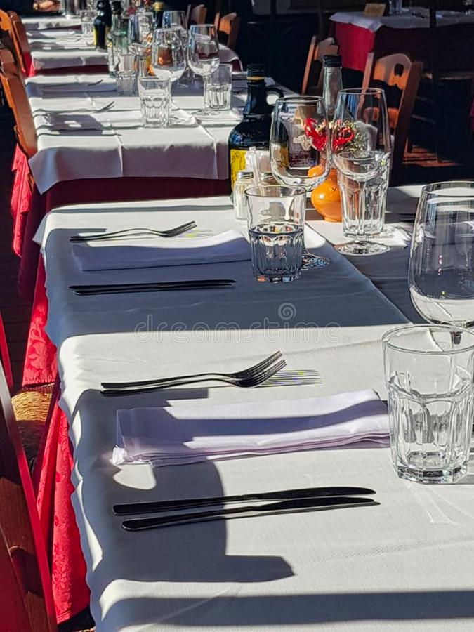 a table setting in a hotel stock image