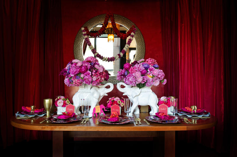 Table Setting For Indian Wedding Stock Photo
