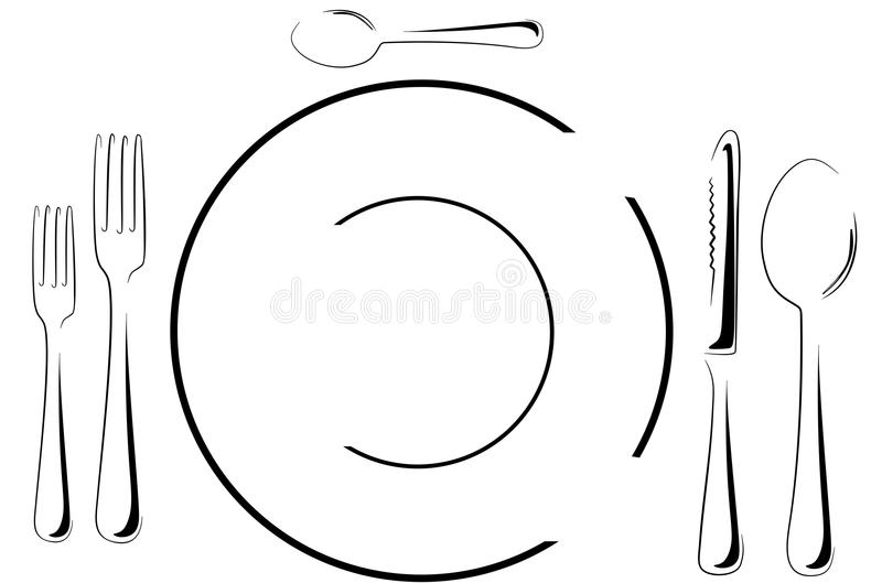 Download Table setting in line art stock vector. Illustration of formal - 24106328