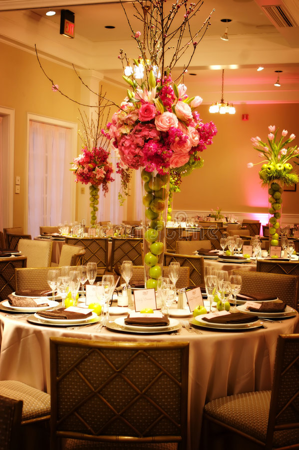 Table setting at a luxury wedding reception stock images