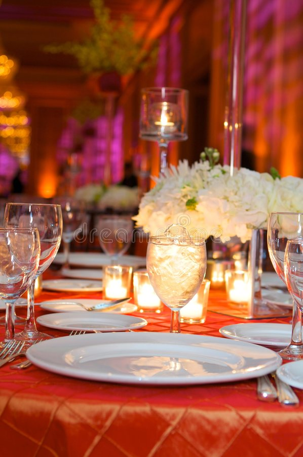 Table setting at a luxury wedding reception stock photos