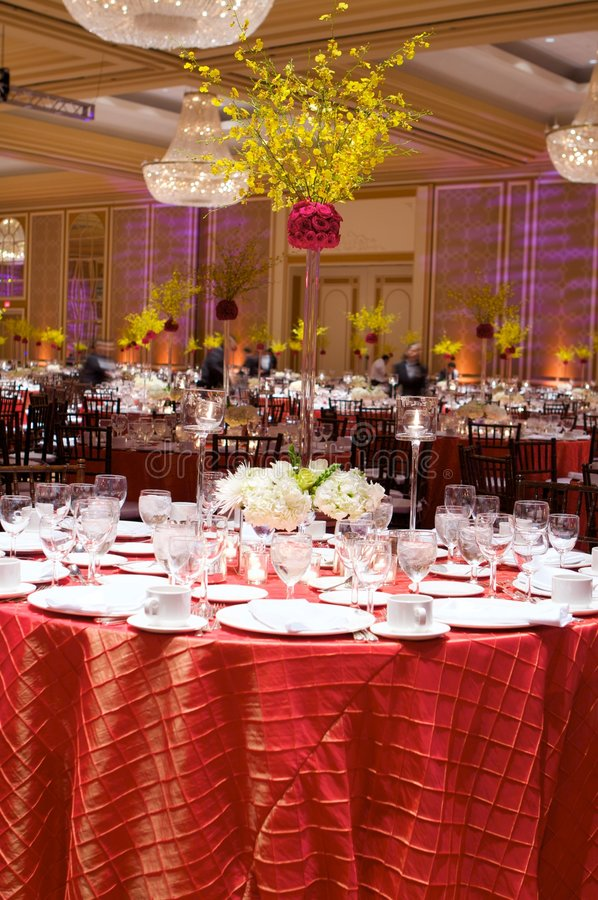 Table setting at a luxury wedding reception. An image of a table setting at a luxury wedding reception stock photography