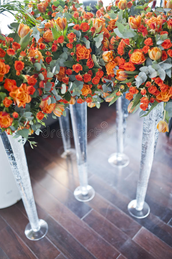 Table setting at a luxury wedding reception. royalty free stock image