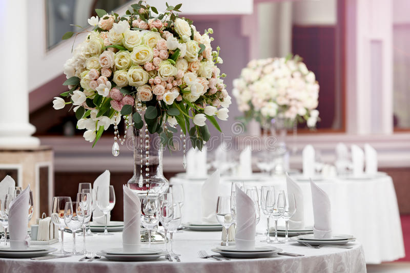 Table setting at a luxury wedding reception. In a restaurant royalty free stock photos