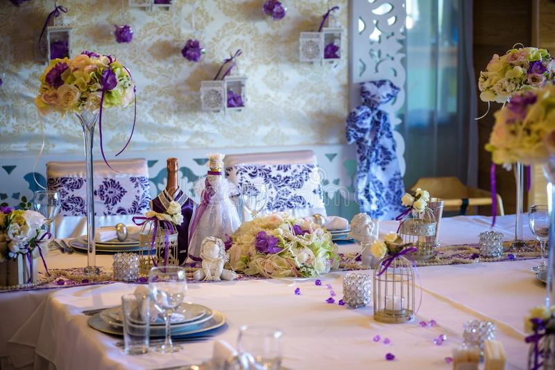 Table setting at a luxury wedding reception stock image