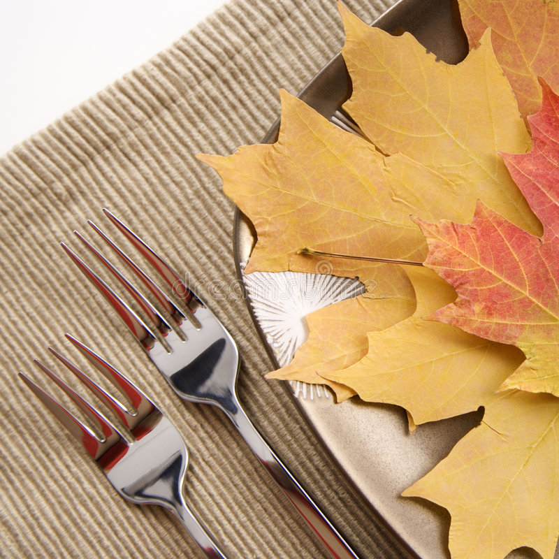 Table setting with multicolor leaves as main meal. stock images