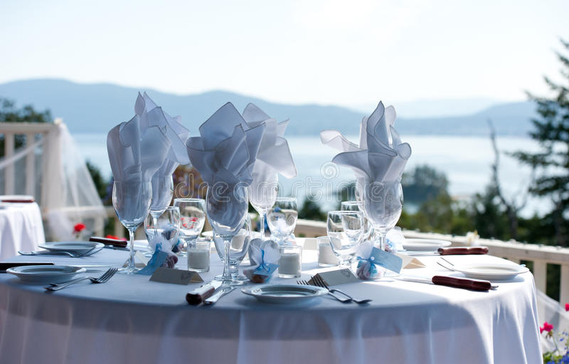 Table Setting Ocean Background royalty free stock photography
