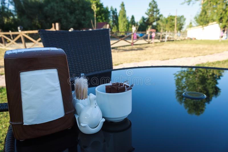 Table setting in outdoor restaurant royalty free stock photography