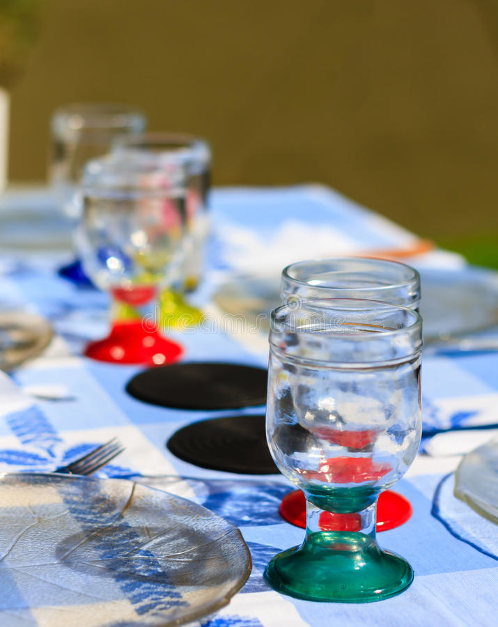 Table setting outside stock photo