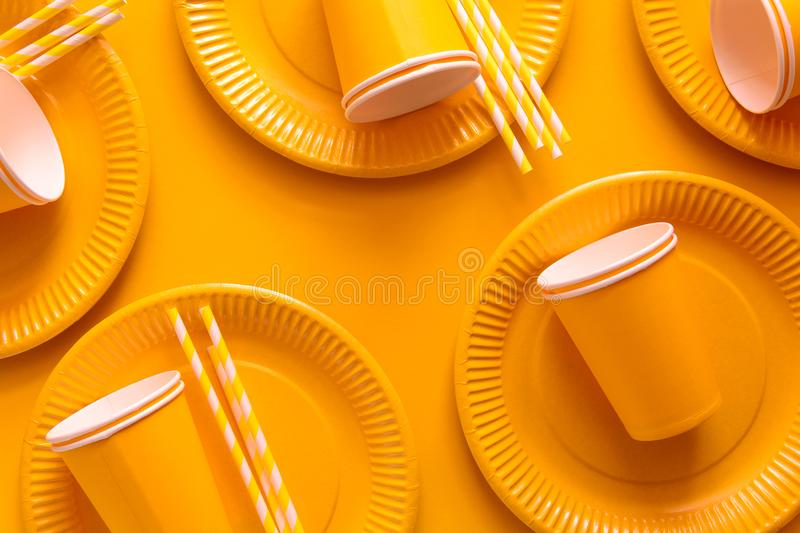 Table setting with paper ware for summer picnic or BBQ. Top view. Flat lay royalty free stock photo