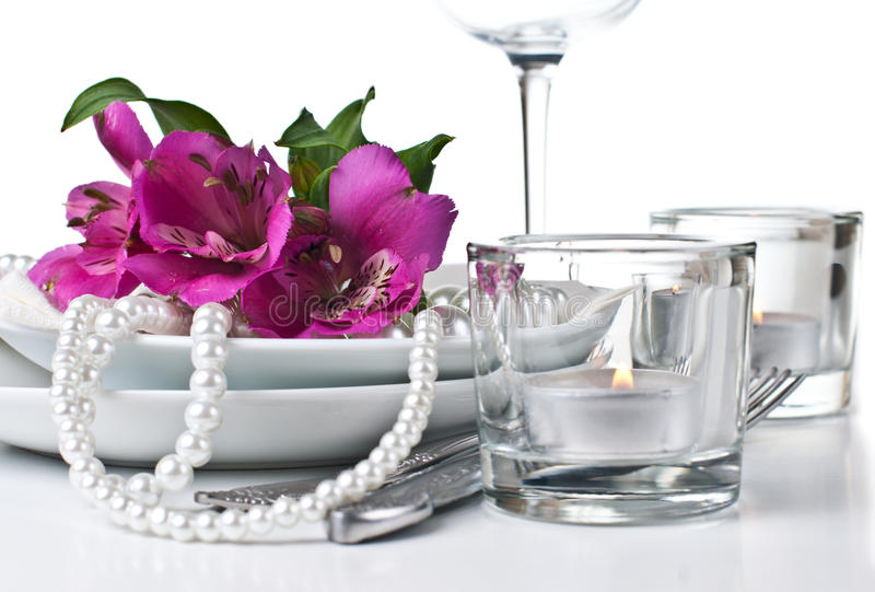 Download Table Setting With Pink Alstroemeria Flowers Stock Photo - Image: 27045808