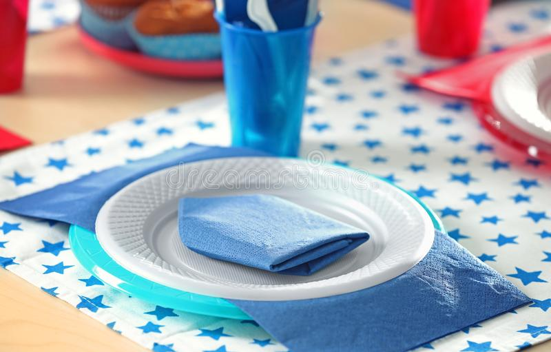 Download Table Setting With Plastic Ware Stock Image - Image of decoration disposable 112288383 & Table Setting With Plastic Ware Stock Image - Image of decoration ...
