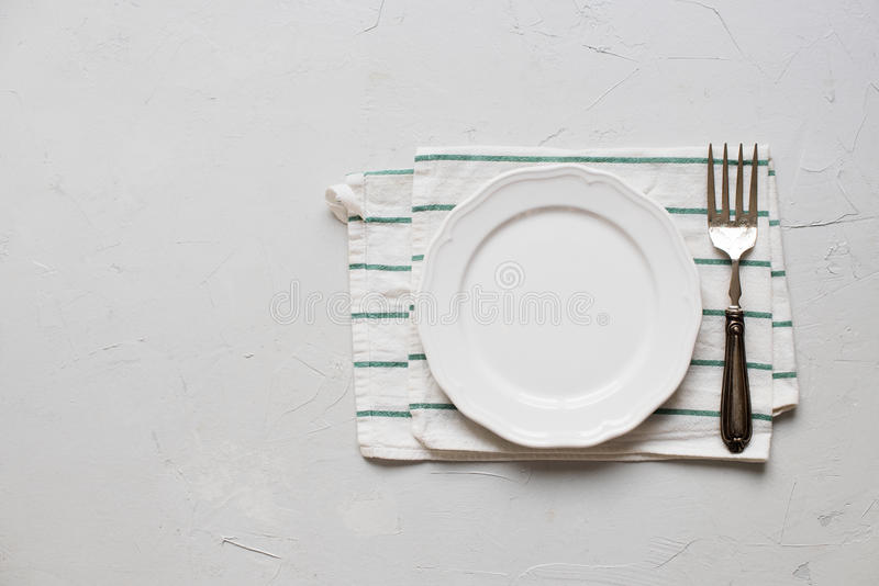 Download Table Setting Plate Silverware Dish Fork Top View Stock Photo - Image of copy & Table Setting Plate Silverware Dish Fork Top View Stock Photo ...