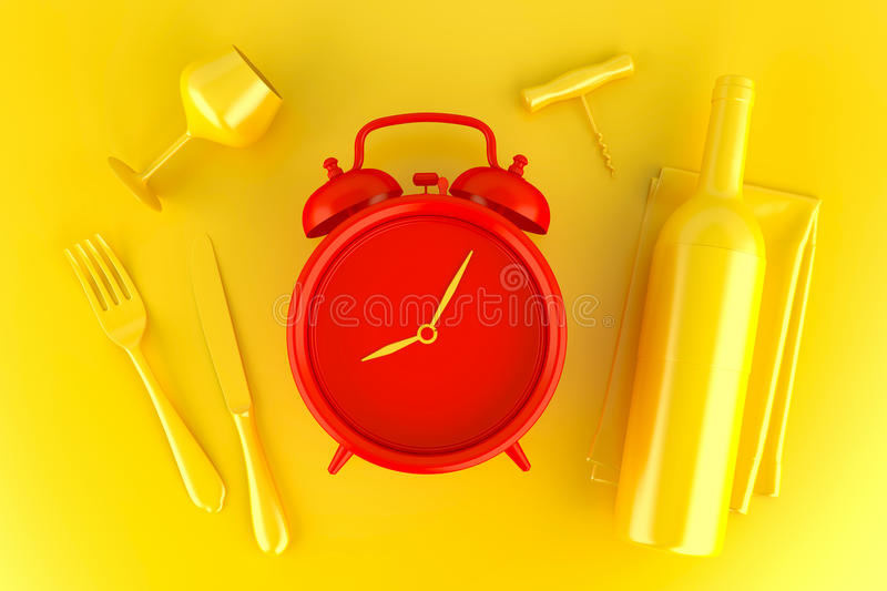 Table setting with red alarm clock, glass and wine bottle. royalty free illustration