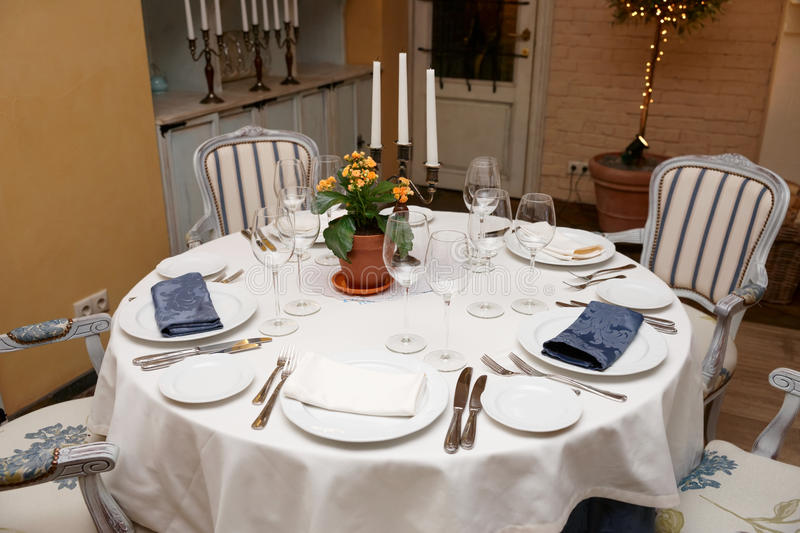 Table Setting In A Restaurant Stock Image - Image of crystal ...