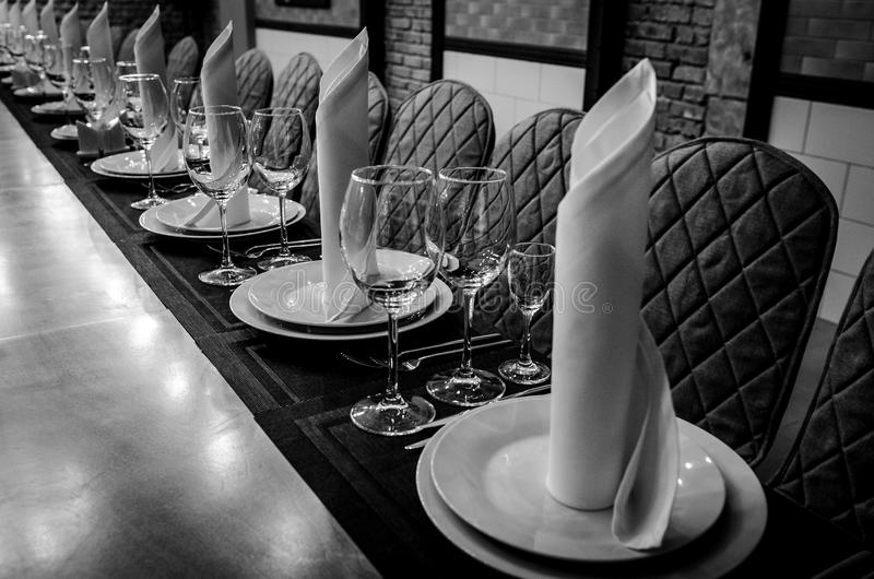 Table setting in restaurant royalty free stock photos