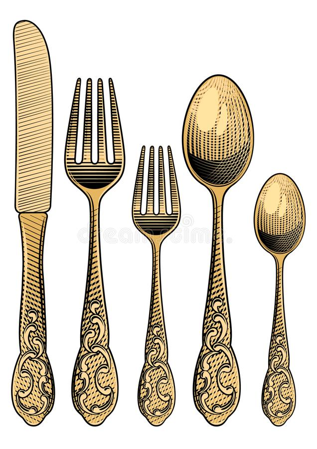 Table setting. Retro spoons, forks and a table knife. stock illustration
