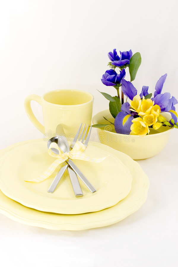 Table setting spring yellow stock images
