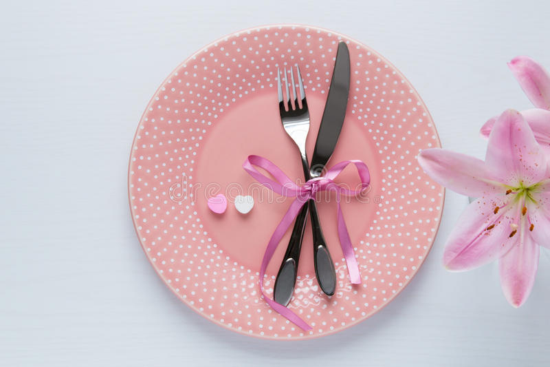 Table setting for Valentines Day. Table setting for Valentines Day in pink color. Top view royalty free stock images