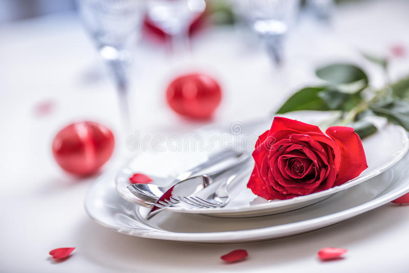 Download Table Setting For Valentines Or Wedding Day With Red Roses. Romantic Table Setting For & Table Setting For Valentines Or Wedding Day With Red Roses. Romantic ...