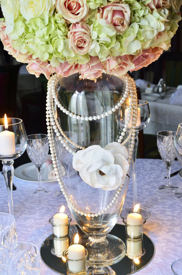 Wedding table with flowers and candles stock photos