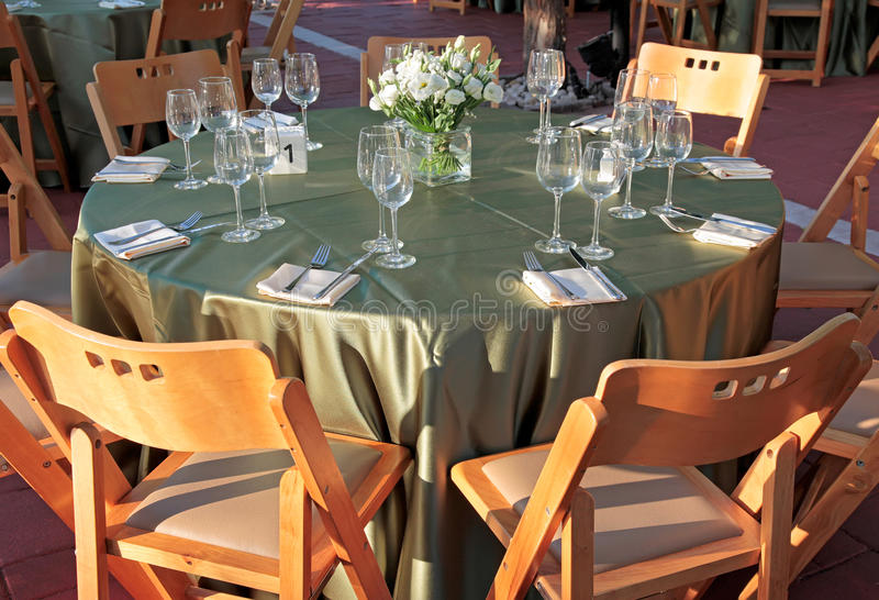 Table setting for a wedding, outdoor stock photo
